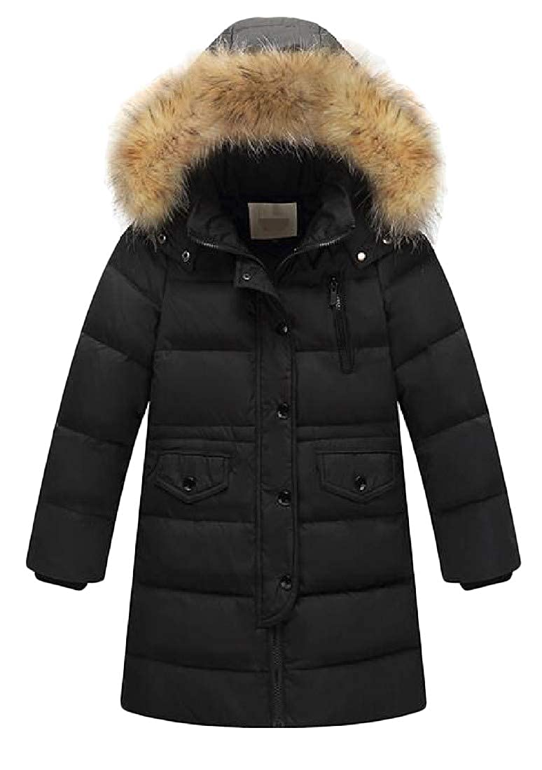Etecredpow Girl Thick Faux Fur Hooded Boy Winter Bubble Outwear Mid-Length Down Coat
