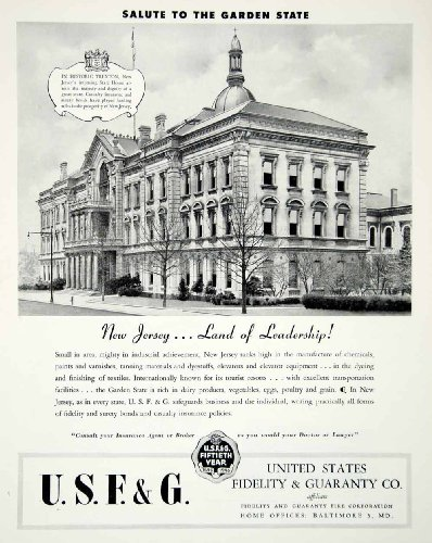1946 Ad United States Fidelity Guaranty New Jersey State House Garden Historic   Original Print Ad