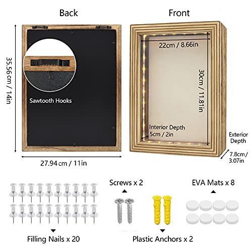 HSicily LED Shadow Box Frame 28x36cm Shadow Box Display Case with Lights Wood Memory Box Linen Back Glass Window for Keepsakes Memorabilia Awards Bouquet Military Photos Carbonized Black