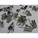 24 QTY: Nickel Plated Steel Drapery Clips for all Drapery Rings
