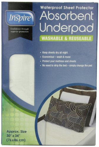 (Inspire Washable Reusable Incontinence Underpad, 30 Inches X 34 Inches)