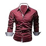 SODIAL (R) Moda para hombre de lujo de manga larga casual delgado estilo camisas de vestido Vino tinto - M