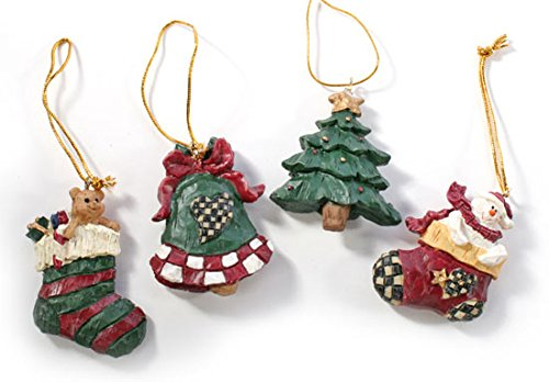 Package of 24 Miniature Rustic Resin Christmas Ornaments for Tree Trim,