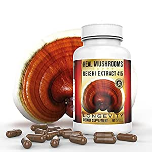 Organic Reishi Mushroom Extract by Real Mushrooms - 60 Capsules - Ganoderma Lucidum/Ling Zhi - Immune Booster