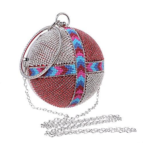 strass borsa donne maniglia da forma Un diamanti cena partito sera lato PLYY lussuosa sera giorno da a frizioni borse borsa rotonda di 4qRt0Ewx