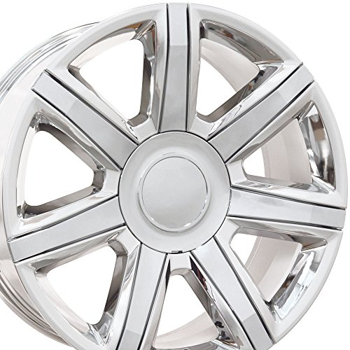 22×9 Wheel Fits GM Trucks & SUVs – Cadillac Escalade Style PVD Chrome Rim w/Chrome Inserts, Hollander 4739