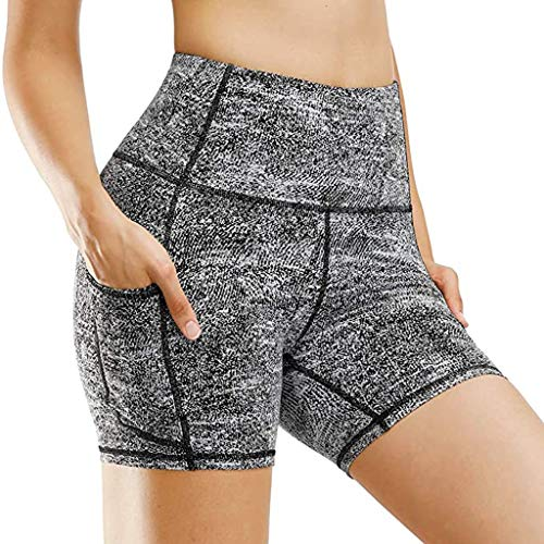 WYILIY High Waist Yoga Shorts for Women Tummy Control Fitness Athletic Workout Running Shorts with Deep Pockets Gray