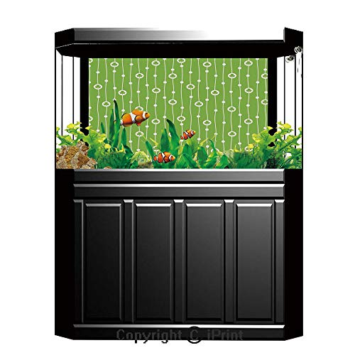 Terrarium Fish Tank Background,Irish,Cute Trifolium on Vertical Wavy Stripes with Dots Good Luck Fortune Symbol Decorative,Lime Green White,Photography Backdrop for Pictures Party Decoration,W48.03