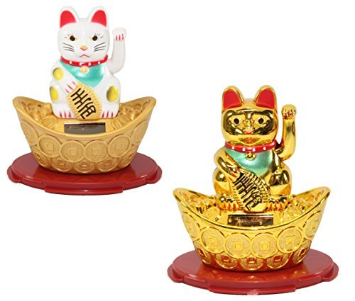 Set of 2~1 White 1 Gold Beckoning Fortune Cat Japanese Oriental Solar Toy Housewarming Gift Home Decor US Seller