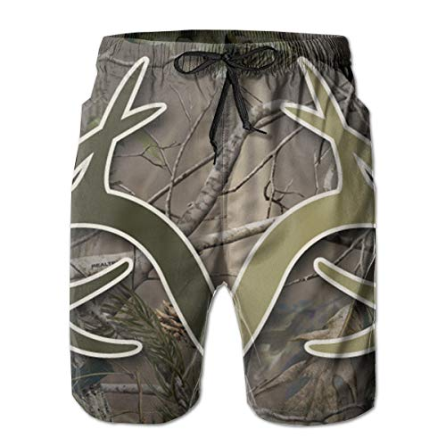 HeeJiong Realtree Camo Wallpapers Leisure Sport Fitness Quick-Drying Men's Shorts Beach Pants with Pockets Swim Trunks Breathable Sweat Absorption ()