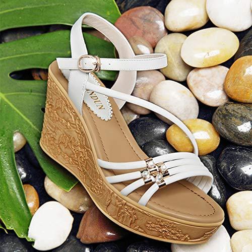 Outdoor Bohémien Strappy Estiva Spesse Scarpe Muffin Open Donna White Zeppe Sandali Suole Toe Piattaforma Spiaggia BAwIaggq