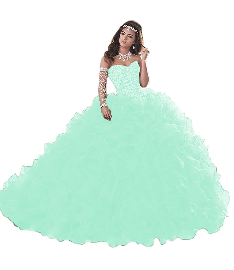 Mint XSWPL Gorgeous Heavy Beaded Organza Quinceanera Dresses for Sweet 16 Ball Gowns