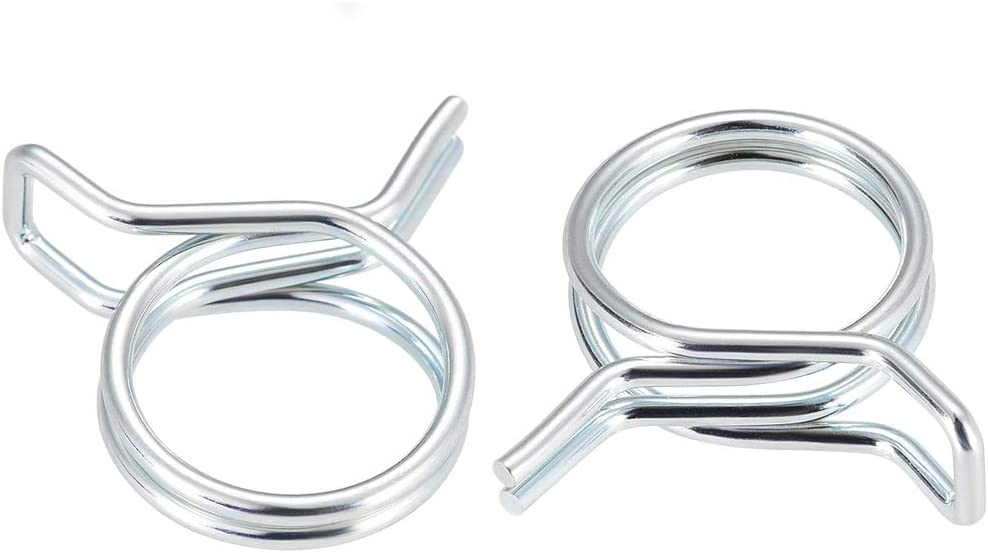 uxcell Double Wire Motorcycle ATV 9mm Fuel Line Silicone Hose Tube Spring Clips Clamp Zinc Plated 10Pcs