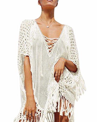 SOLERSUN Women's Crochet Swimwear Tunic Beach Dress Tassels Slash Cover Up Net White - Swimwear Modern