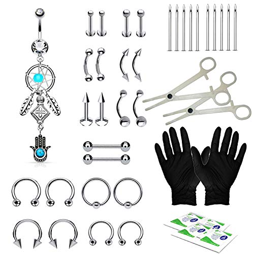 (BodyJ4You 36PC PRO Piercing Kit Steel 14G 16G Dream Catcher Belly Ring Tongue Nipple Nose Jewelry)