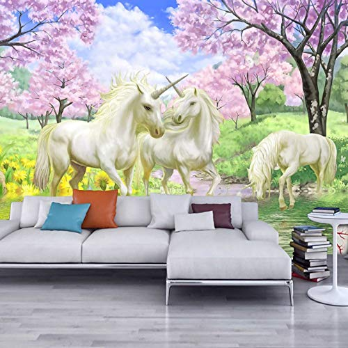 3D Stickers Murals Decorations Wallpaper Wall Unicorn Dream Cherry Blossom Background Pictures Kids Room Bedroom Living Room Art Girls Tv (W)140X(H)100Cm