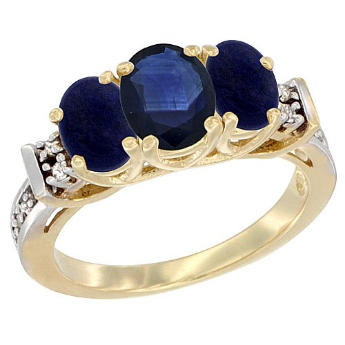 10K Yellow Gold Natural Blue Sapphire & Lapis Ring 3-Stone Oval Diamond Accent, size 10 Blue Sapphire Lapis Ring