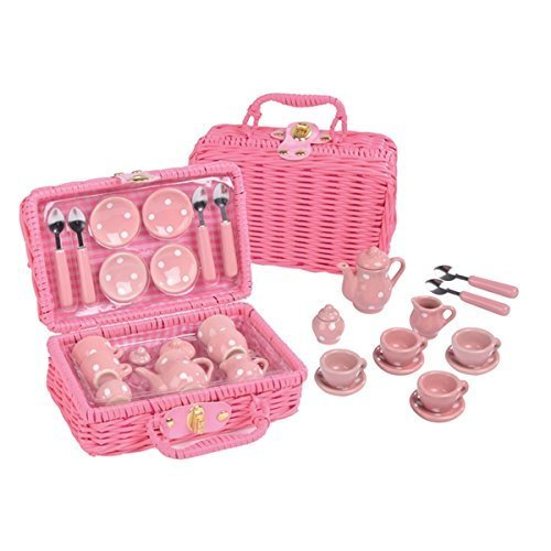 Floss and Rock Think Pink Spotty 17-Piece MINI Ceramic Tea Set in Basket by Floss & Rock (Image #5)