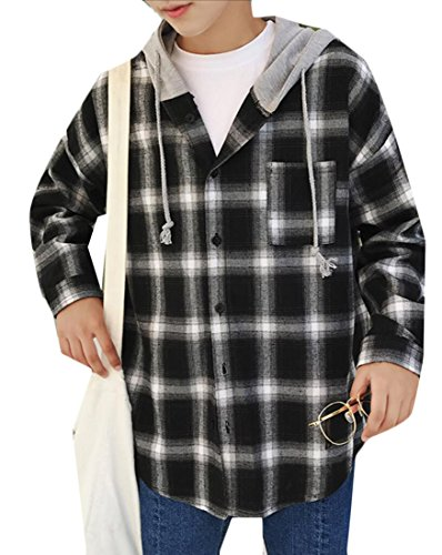 Jacket Black Mens Hooded Button Plaid Generic Shirt Autumn Casual Down ZPTWq8
