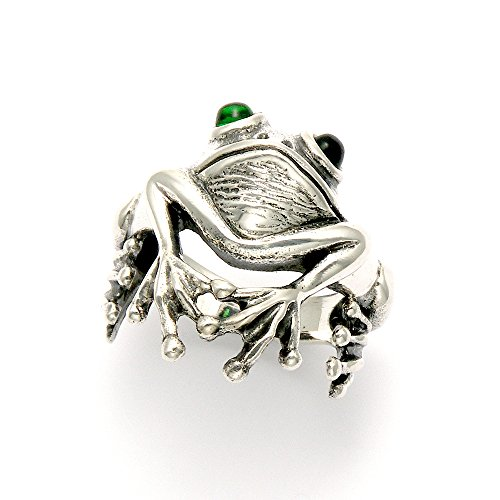 Oxidized Sterling Silver Frog Ring Green Crystal Eyes (5)