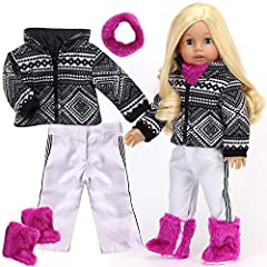 4 piece snow set for 18 inch dolls includes a black and white print zip up jacket, white snow pants with stripe, bright fur neck warmer and matching boots. Perfect for 18 inch dolls including Sophia's , American Girl , My Life As, Our Generat...
