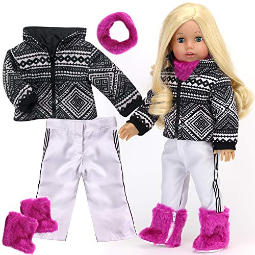 Sophia's Doll Clothing Ski Outfit for Dolls |18 in Doll Snowsuit | 4 Pc Set, Black & White Geometric Print Ski Coat, White Pants, Berry Neck Warmer & Fur Boots, Perfect for American Dolls & More!
