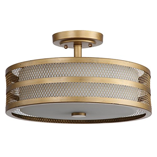 Safavieh Lighting Collection Greta Veil Antique Gold 9.6-inch Ceiling Light