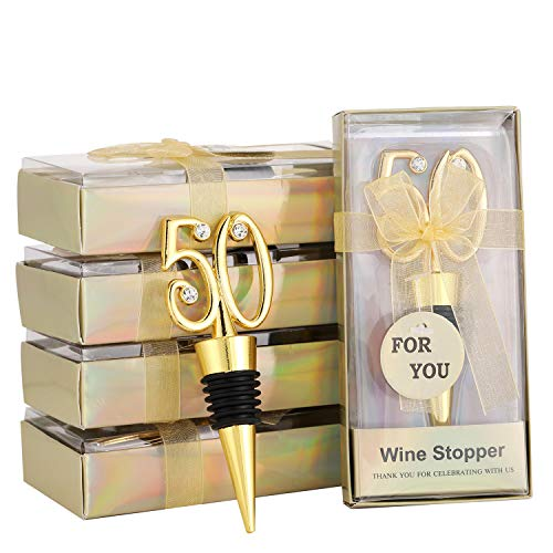 Gold 50th Anniversary Bottle Stoppers - 5