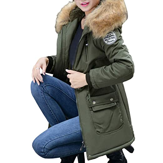 Sunhusing Women Outerwear Long Cotton-Padded Hooded Drawstring Pocket Button Snap Thermal Coats
