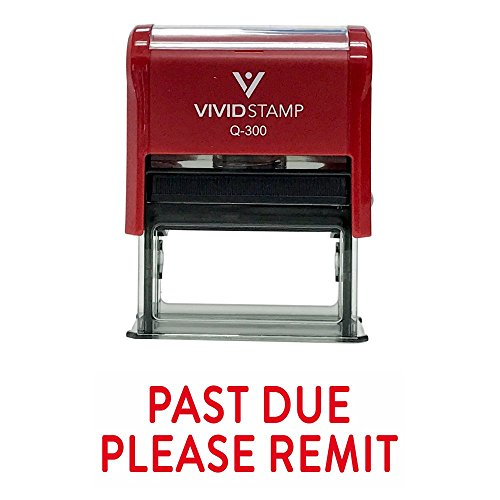 Past Due Please REMIT Self Inking Rubber Stamp (Red Ink) - Large
