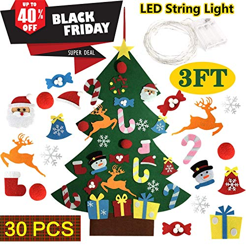 BV DIY Felt Christmas Tree with 30pcs Ornaments + LEDs String Light - Wall Hanging Xmas Ornaments Kids Gifts Party Decorations
