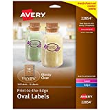 Avery Oval Labels for Laser & Inkjet Printers, 1.5' x 2.5', 180 Glossy Crystal Clear Labels (22854)