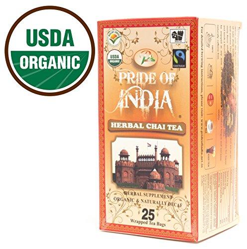 Pride Of India - Organic Herbal Chai Tea, 25 Tea Bags (Decaf)