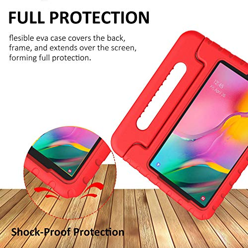 BMOUO Kids Case for Samsung Galaxy Tab A 10.1 (2019) SM-T510/T515, Shockproof Light Weight Protective Handle Stand Kids Case for Galaxy Tab A 10.1 Inch 2019 Release SM-T510/T515 - Red