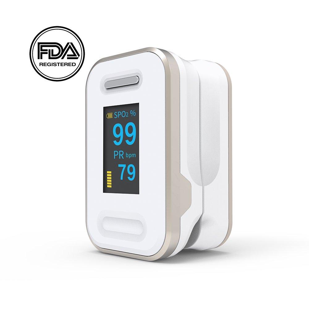 Fingertip Pulse Oximeter SpO2 Monitor Sensor Heart Rate Monitor OLED Display with Alarm Function Yonker YK - Gold