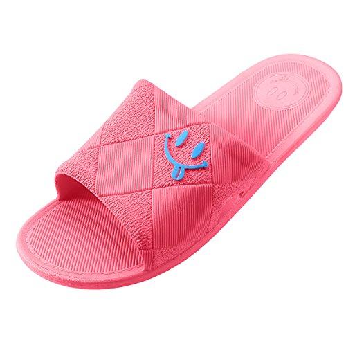 WILLIAM&KATE Women and Men Open-Toe Anti-Slip Bath Slippers Happy Smile Soft Sole Shower Sandal Watermelon Red XxrBX0y