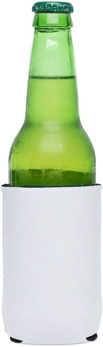SNERTZ (6) White Sublimation Blank Beer Can Sleeves 3mm Neoprene DIY Customizable Can or Bottle Beverage Cooler