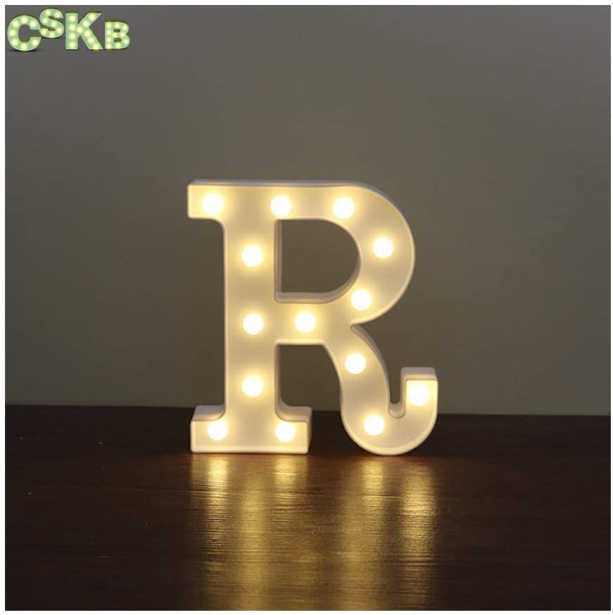 CSKB LED Marquee Letter Lights 26 Alphabet Light Up Marquee Letters Sign for Wedding Birthday Party Battery Powered Christmas Night Light Lamp Home Bar Decoration R