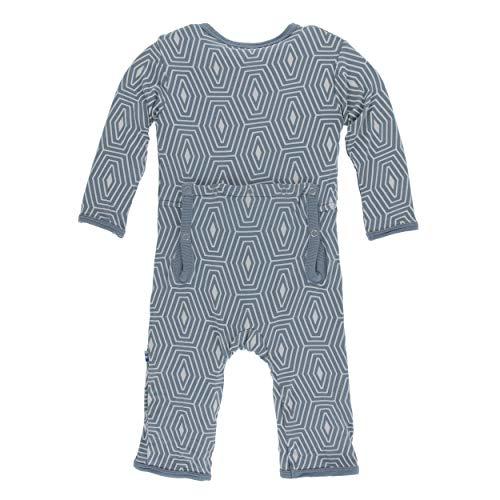 Kickee Pants Little Boys Print Coverall Zipper - Dusty Sky Tortoise Shell, 3-6 Months