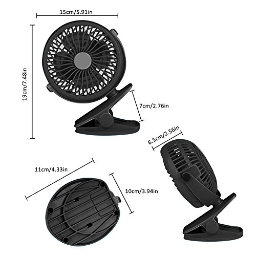 Per USB Rechargeable Mini Fan With Clip 5.91In Desk Fans 360° Rotation Adjustable Wind Speed For Home Office Stroller Portable-With 2600mAh Battery by Per (Image #6)