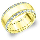 eternity wedding bands llc - 18K Yellow Gold Diamond Eternity Railroad Wedding Band (1.5 cttw, H-I Color, I1-I2 Clarity) Size 6.5