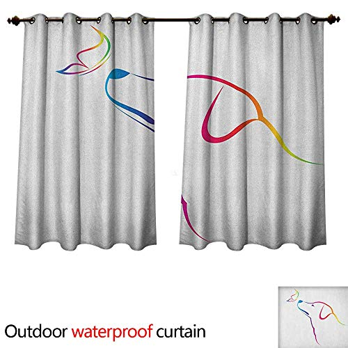 Anshesix Dog 0utdoor Curtains for Patio Waterproof Image of a Labrador with Butterfly Miracle of The Planet Earth Friend Univers