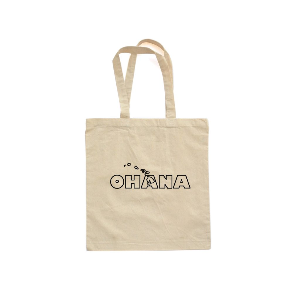 Apericots Ohana Family Hawaii Hawaiian Cute Fun Natural Eco Friendly Canvas Cotton Tote Bag