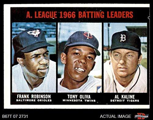 1967 Topps # 239 AL Batting Leaders Al Kaline/Tony Oliva/Frank Robinson Orioles/Twins/Tigers (Baseball Card) Dean's Cards 3 - VG Orioles/Twins/Tigers (Tigers Batting)