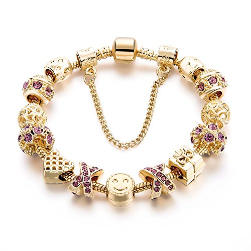 (Gold Tone Bracelet Snake Chain Heart Smiley Beaded Charm Bracelets Rhinestone Bangles for Women Teen)