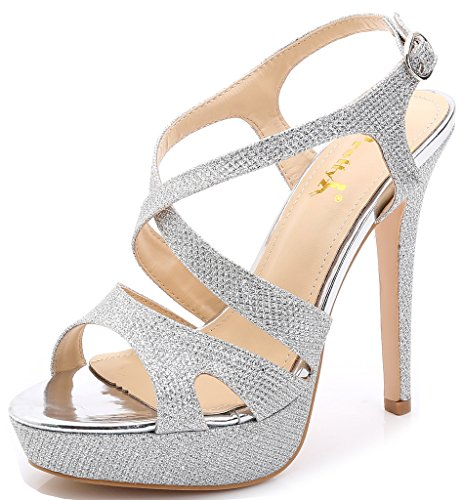 YooPrettyz Women's Sparkle Strappy Pump High-Heel Evening Platform Sandals Wedding Shoes Silver ()