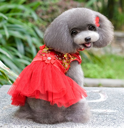 [SMALLLEE_LUCKY_STORE Chinese Traditional Tang Suit Dress, Red, X-Large] (Business Suit Dog Costume)