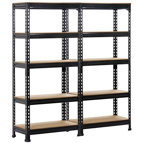 Yaheetech 5-Shelf Units Storage Rack Corner Shelf Organization Utility Rack Multipurpose Shelf Display Rack for Home Kitchen Living Room Bedroom Office 59.1'' Height, 2 ()