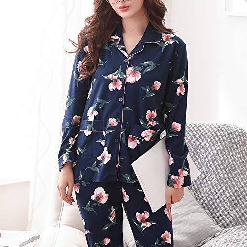 Autunno Vintage Lunga Camicia Donna Traspirante Pigiama E Blue Morbido Cotone Fiore Da Manica Pigiama E Da PJ's Notte Notte Pantaloni Da Con In 1qwY78R