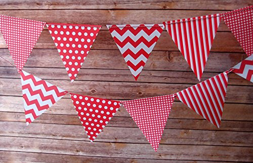 Quasimoon Red Mix Pattern Triangle Pennant Banner by PaperLanternStore